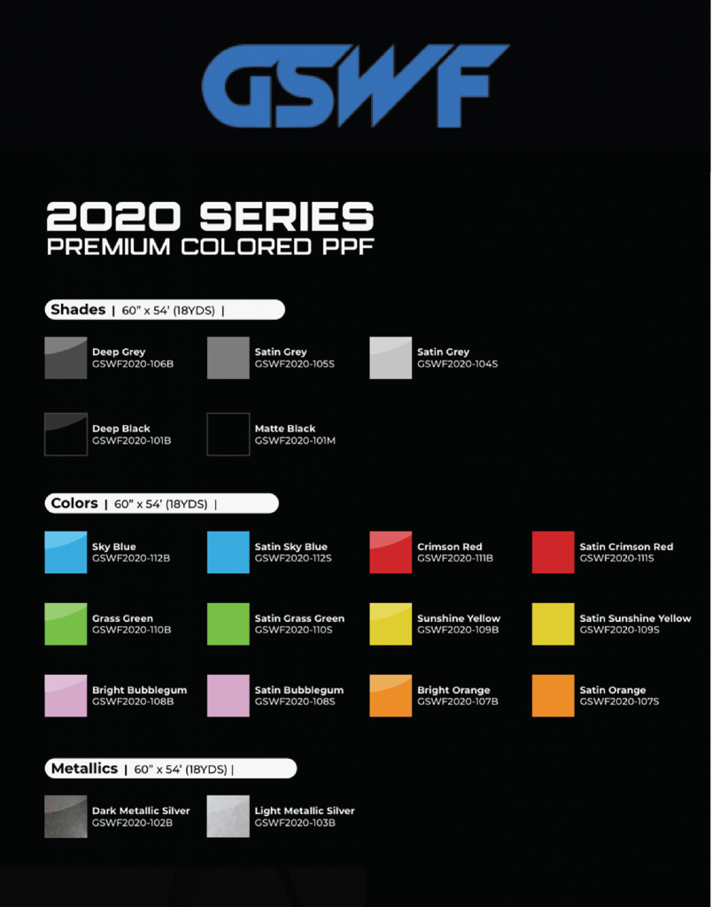 List des couleurs et finis pellicule pare-pierre GSWF